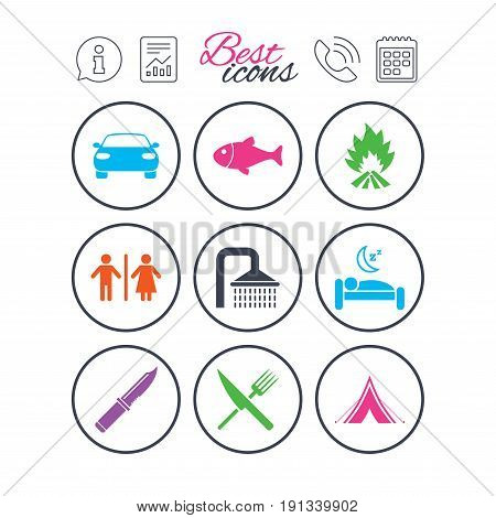 Information, report and calendar signs. Hiking travel icons. Camping, shower and wc toilet signs. Tourist tent, fork and knife symbols. Phone call symbol. Classic simple flat web icons. Vector