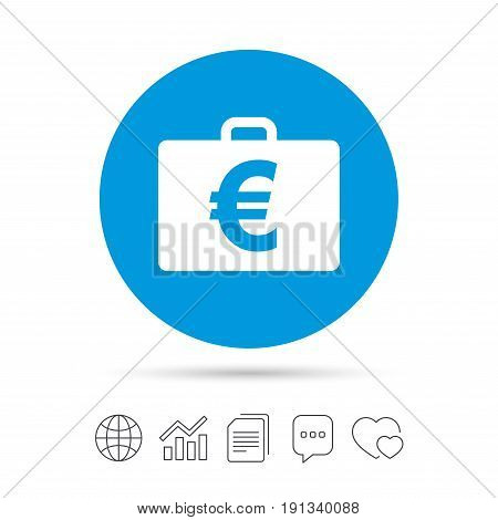 Case with Euro EUR sign icon. Briefcase button. Copy files, chat speech bubble and chart web icons. Vector