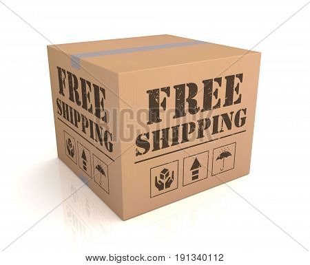 Free Shipping Cardboard Box Concept  3D Illustration