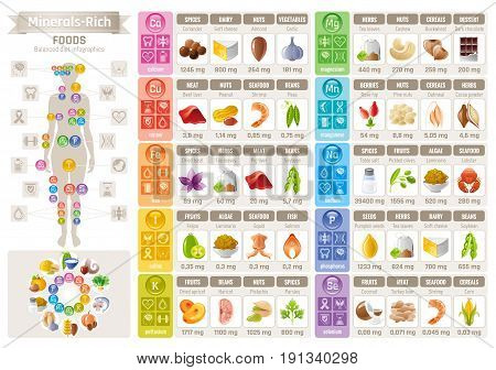 Mineral Vitamin food icons chart. Health care flat vector icon set isolated. Diet balance Infographic diagram banner illustration, calcium iron iodine sodium potassium magnesium selenium phosphorus