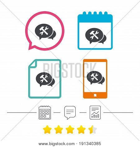 Speech bubble repair tool sign icon. Service symbol. Hammer with wrench. Calendar, chat speech bubble and report linear icons. Star vote ranking. Vector