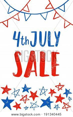 Fourth of July flyer template. Independence Day sale. Vector hand drawn illustration