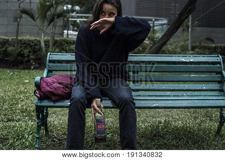 Drunk Homeless Woman In The Park