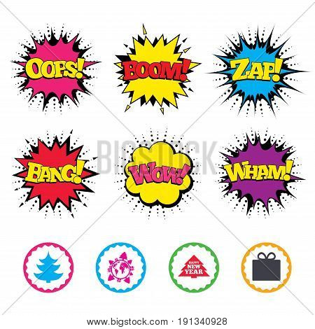 Comic Wow, Oops, Boom and Wham sound effects. Happy new year icon. Christmas trees and gift box signs. World globe symbol. Zap speech bubbles in pop art. Vector