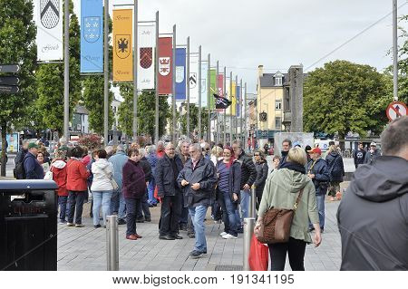 Eire Square, Galway, Ireland June 2017,tour Group Starting A Tour Around The City.