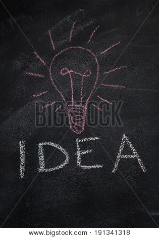 Word idea with red light bulb drawn with chalk on blackboard