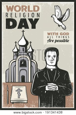 Vintage religious poster with text priest church flying dove bible book and candle vector illustration