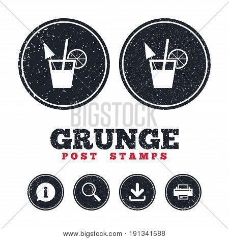 Grunge post stamps. Cocktail sign. Alcoholic drink symbol. Information, download and printer signs. Aged texture web buttons. Vector