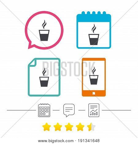 Coffee glass sign icon. Hot coffee button. Hot tea drink with steam. Takeaway. Calendar, chat speech bubble and report linear icons. Star vote ranking. Vector