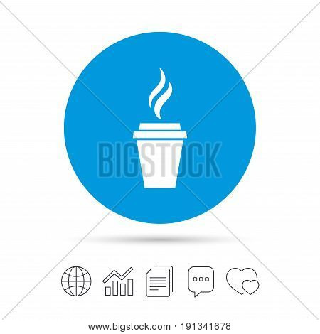 Coffee glass sign icon. Hot coffee button. Hot tea drink with steam. Takeaway. Copy files, chat speech bubble and chart web icons. Vector