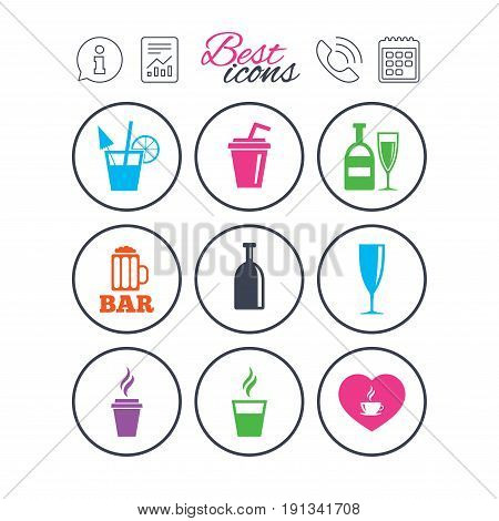 Information, report and calendar signs. Beer, coffee and tea icons. Beer, wine and cocktail signs. Soft and alcohol drinks symbols. Phone call symbol. Classic simple flat web icons. Vector