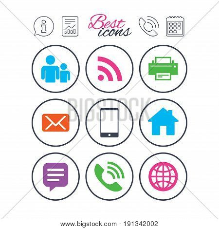 Information, report and calendar signs. Contact, mail icons. Communication signs. E-mail, chat message and phone call symbols. Phone call symbol. Classic simple flat web icons. Vector