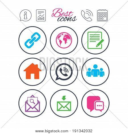 Information, report and calendar signs. Communication icons. Contact, mail signs. E-mail, call phone and group symbols. Phone call symbol. Classic simple flat web icons. Vector