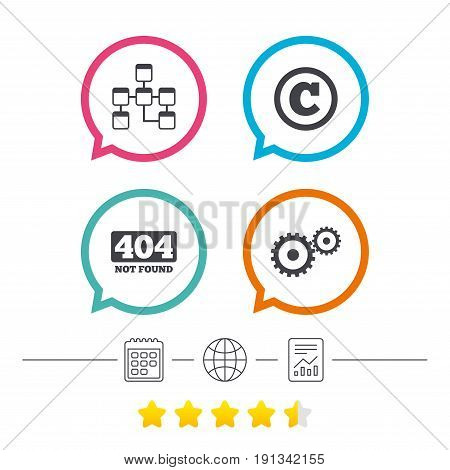 Website database icon. Copyrights and gear signs. 404 page not found symbol. Under construction. Calendar, internet globe and report linear icons. Star vote ranking. Vector