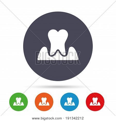 Parodontosis tooth icon. Gingivitis sign. Inflammation of gums symbol. Round colourful buttons with flat icons. Vector