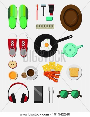 Flat daily life icons collection with footwear mobile headphone sunglasses morning tools breakfast food isolated vector illustration