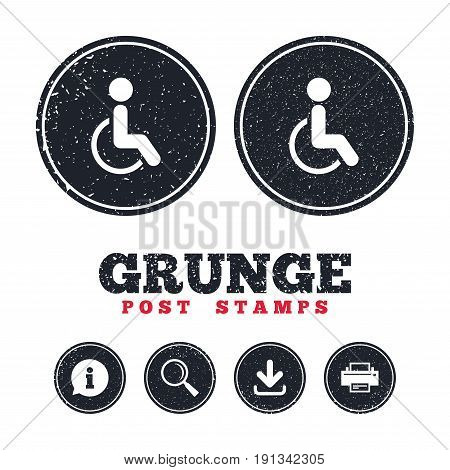 Grunge post stamps. Disabled sign icon. Human on wheelchair symbol. Handicapped invalid sign. Information, download and printer signs. Aged texture web buttons. Vector