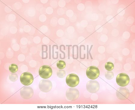 Luxury Shiny Pearls Background with decorative bokeh Flecks and space for Some Text. Illustration