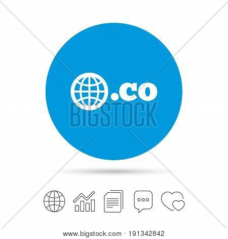 Domain CO sign icon. Top-level internet domain symbol with globe. Copy files, chat speech bubble and chart web icons. Vector