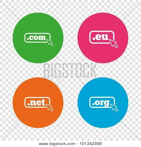 Top-level internet domain icons. Com, Eu, Net and Org symbols with cursor pointer. Unique DNS names. Round buttons on transparent background. Vector