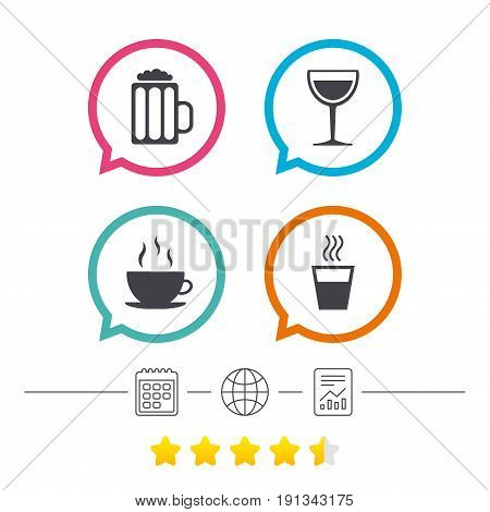 Drinks icons. Coffee cup and glass of beer symbols. Wine glass sign. Calendar, internet globe and report linear icons. Star vote ranking. Vector