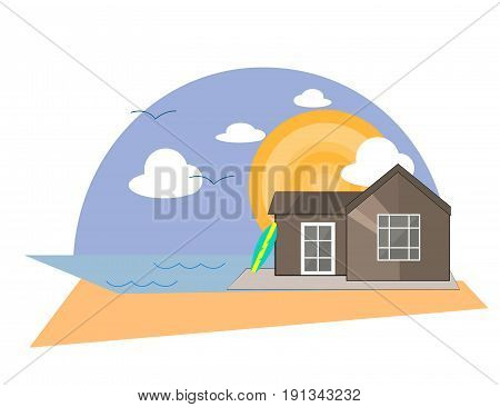Sea Side Summer Landscape With House on a Beach and Shiny sun in Flat Design. Illustration.