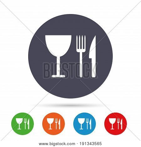 Eat sign icon. Cutlery symbol. Knife, fork and wineglass. Round colourful buttons with flat icons. Vector