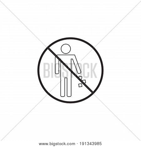 no littering line icon, no trash prohibited sign, vector graphics, a linear pattern on a white background, eps 10.