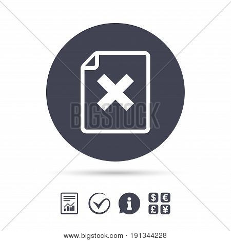 File document stop icon. Delete doc button. Remove file symbol. Report document, information and check tick icons. Currency exchange. Vector