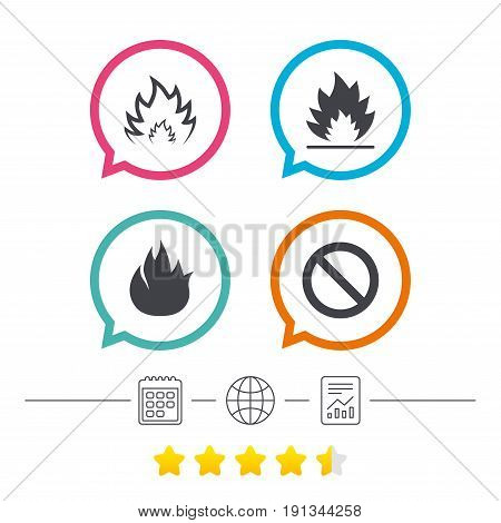 Fire flame icons. Prohibition stop sign symbol. Calendar, internet globe and report linear icons. Star vote ranking. Vector