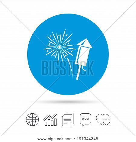 Fireworks with rocket sign icon. Explosive pyrotechnic symbol. Copy files, chat speech bubble and chart web icons. Vector