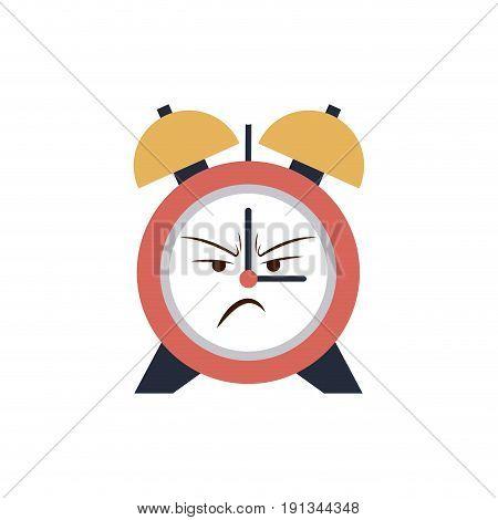 kawaii clock alarm time cartoon angry vector illustration