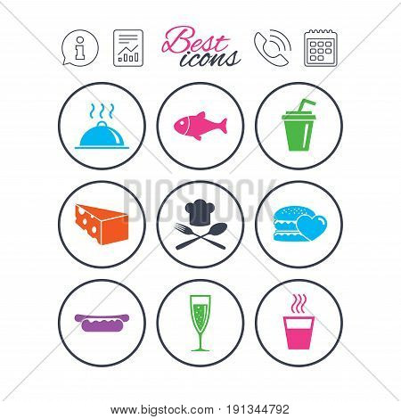 Information, report and calendar signs. Food, drink icons. Alcohol, fish and burger signs. Hot dog, cheese and restaurant symbols. Phone call symbol. Classic simple flat web icons. Vector