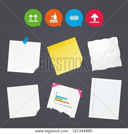 Business paper banners with notes. Fragile icons. Delicate package delivery signs. This side up arrows symbol. Sticky colorful tape. Speech bubbles with icons. Vector