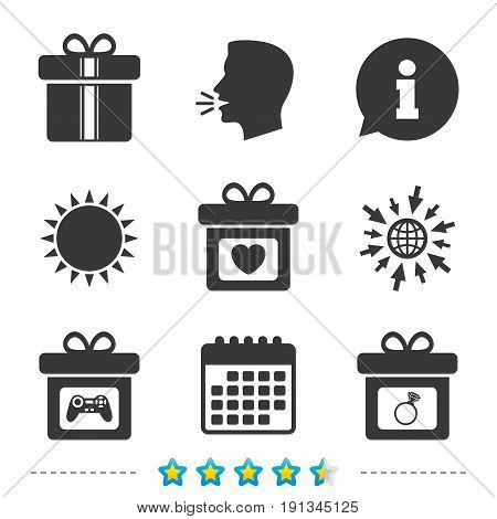 Gift box sign icons. Present with bow and ribbons symbols. Engagement ring sign. Video game joystick. Information, go to web and calendar icons. Sun and loud speak symbol. Vector