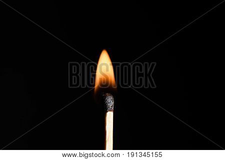 Closeup Of Burning Match, Isolated On White Background.