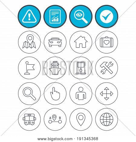 Report, check tick and attention signs. GPS navigation icons. Car, Bus and Ship transport. You are here, map pointer symbols. Search gas or petrol stations, hotels. A to B distance. Vector
