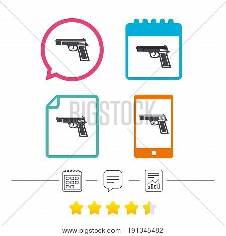 Gun sign icon. Firearms weapon symbol. Calendar, chat speech bubble and report linear icons. Star vote ranking. Vector
