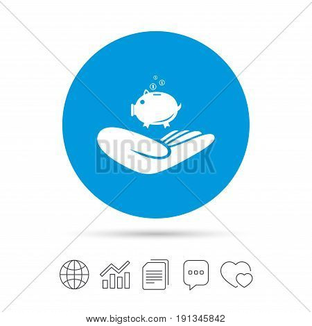 Donation hand sign icon. Hand holds Piggy bank. Charity or endowment symbol. Human helping hand palm. Copy files, chat speech bubble and chart web icons. Vector