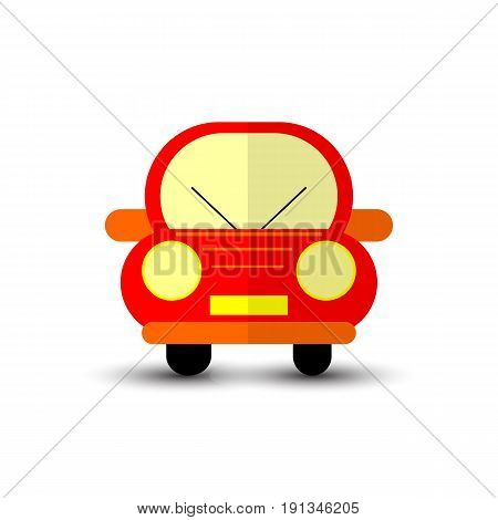 Funny Red Car Isolated on White Bacground Illustration
