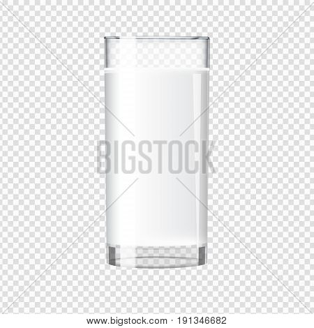 Milk in a transparent glass mock up. Tall glass with beverage. Realistic Vector illustration.