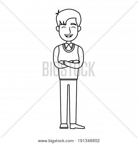 business man standing arms folded silhouette vector illustration