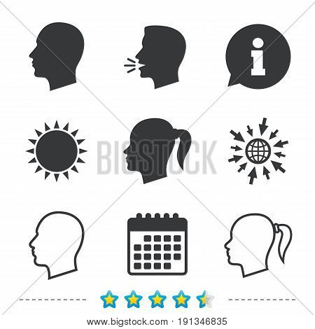 Head icons. Male and female human symbols. Woman with pigtail signs. Information, go to web and calendar icons. Sun and loud speak symbol. Vector