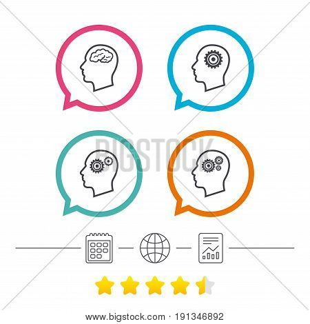 Head with brain icon. Male human think symbols. Cogwheel gears signs. Calendar, internet globe and report linear icons. Star vote ranking. Vector