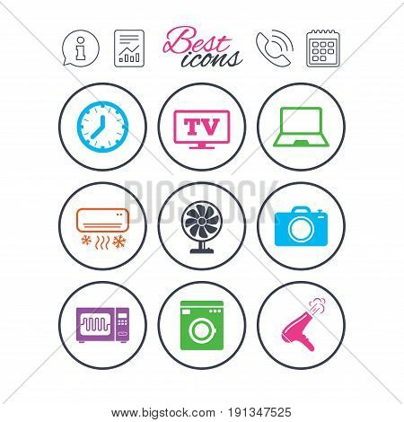Information, report and calendar signs. Home appliances, device icons. Electronics signs. Air conditioning, washing machine and microwave oven symbols. Phone call symbol. Classic simple flat web icons