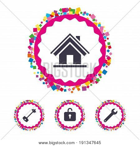 Web buttons with confetti pieces. Home key icon. Wrench service tool symbol. Locker sign. Main page web navigation. Bright stylish design. Vector