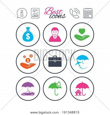 Information, report and calendar signs. Insurance icons. Life, Real estate and House signs. Saving money, vehicle and umbrella symbols. Phone call symbol. Classic simple flat web icons. Vector
