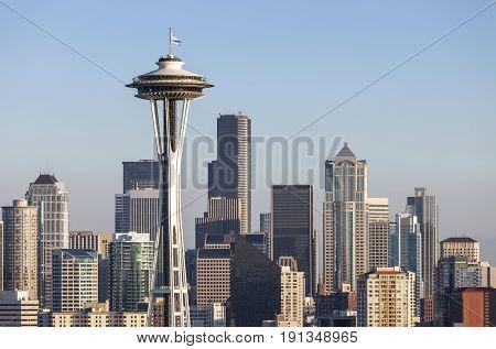 Seattle downtown skyline at sunset Washington state.
