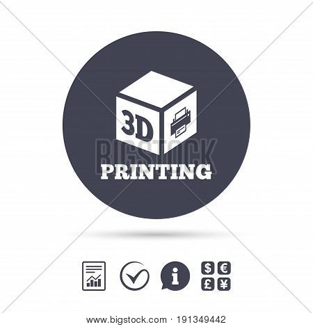 3D Print sign icon. 3d cube Printing symbol. Additive manufacturing. Report document, information and check tick icons. Currency exchange. Vector