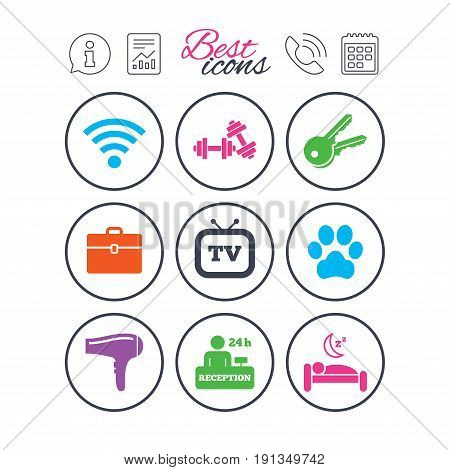 Information, report and calendar signs. Hotel, apartment service icons. Wi-fi internet. Reception, pets allowed and hairdryer symbols. Phone call symbol. Classic simple flat web icons. Vector